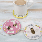Set of 4 Pretty Bee Coasters in Pastel Colours with Individual Quotes 10 x 10cm