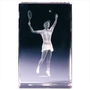 "Classico ""3D Female Tennis Player"" Cube Ornament, Glass, Transparent"