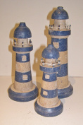 Set of 3 Lighthouse Ornaments in Blue and White 24, 20 and 16cm tall