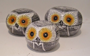 Set of 3 Grey Shabby Chic Owl boxes 13, 10 and 7.5cm Hand made, Fair Trade