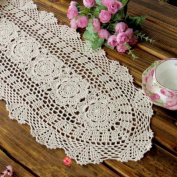 yazi Beige Hollow Table Runners Oval Handcraft Crochet Americal Style for Home Kitchen Dinner Room Decoration 30x60cm
