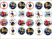 24 Fireman Sam Theme Edible Wafer Paper Cup Cake Toppers