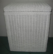 Rattan Laundry Basket Chest with Lining 94 White