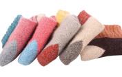 Smile YKK 5PCS Womens Fall Winter Knitted Padded Middle Tube Splice Colour Socks