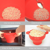 Firlar Microwave Popcorn Popper Sturdy Convenient Handles, Silicone Popcorn Maker, Collapsible Bowl with Lid