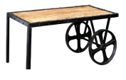 Chicago Urban Industrial Wooden Top & Metal Frame Cart Coffee Table