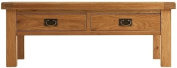 Chichester Oak 2 Drawer Large Coffee Table with Shelf in Light Oak Finish 120cm | Wooden Rectangular Storage