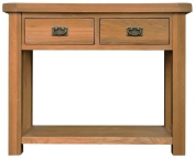 Chichester Oak 2 Drawer Large Console Table in Light Oak Finish | Wooden Telephone Stand