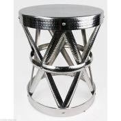 Aluminium Stool 49cm Side End Table Plant Lamp Stand Lattice Design Silver Metal