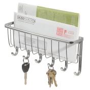 Top Home Solutions® Chrome Wall Mounted Letter & Key Holder Rack Post Organiser Letter Box Mail Home Door Hanger