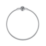 Glamulet 925 Sterling Silver Round Clip Classic Bangle Starter Bracelet Fits Pandora Charms