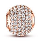 Glamulet Sports Women's 925 Sterling Silver Birthstone Paved Crystal Bead Charm Fits Pandora Bracelet