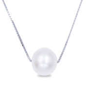 Swhite Sterling Freshwater Cultured Pearl Pendant Necklace