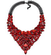 Women's Multi-Row Rhinestone Crystal Strand Bib Statement Choker Collar Necklace