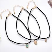 M-Egal 3pcs/set Faux Stone Turquoise Pendant Velvet Rope Choker Collar Necklaces