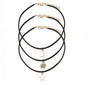 M-Egal Women's 3pcs/Set Black Velvet Rope Choker Collar Necklaces with Star Moon Sun Pendant