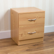 Home Discount Pine Bedside Cabinet, 2 Drawer With Metal Handles & Runners, Unique Anti-Bowing Drawer Support, Riano Bedroom Furniture