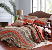 Beddingleer King Size Extreme luxury Best Striped Classical Cotton Patchwork Quilted Bedspread Set Printed Vintage Collection Handmade Bedding Quilt/Sham Throw Set, 3pcs (Quilted Set)