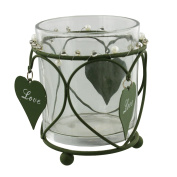 Shabby Chic Candle Holder with Hanging 'Love' Heart - Green