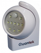 Quantek 10 LED Super Bright Automatic Wireless Motion Activated Battery Powered Night Light - Hallway Light - Porch Light - With Built In Day / Night Light Sensor - Indoor or Outdoor Use