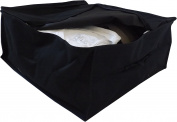 Neusu Heavy Duty Twin Pack Bedding Or Clothing Storage Bags - 2 x 40 Litre Capacity (45cm x 45cm x 20cm) - Strong 600D Polyester Material With 2x Web Reinforced Handles - Fold Flat - Black