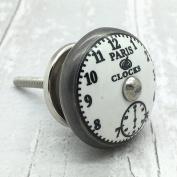 Vintage Paris clocks knob silver ceramic furniture cupboard cabinet drawer door shabby chic pull 4517