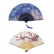 Hand Held Silk Folding Fans with Bamboo Frame, Cherry Blossom and Butterflies Flying among the Flowers Pattern, Pack of 2