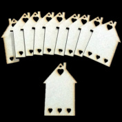 10pcs Wooden Laser Cut MDF Houses With Hearts Shapes Craft Blank Plaque Signs Card Making 3mm Thick, Ideal For Scrapbooking, Gift tags, Christmas, Weddings Or Hanging Art Decorations