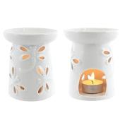 Jones Home and Gift Dragonfly Oil Burner - white glazed, Multi-Colour