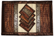 Place Mat and Coaster 4 set 2 sizes Natural Reed wicker with plush silk trim and elephant print Eco sustainable craft