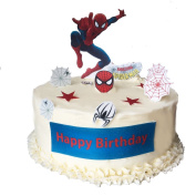 Stand Up Spiderman Happy Birthday Scene Premium Edible Wafer Paper Cake Toppers - Easy to Use