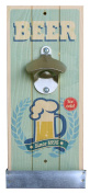 Wall Mounted Retro Beer Bottle Opener and Catcher - Green Ice Cold Beer Design