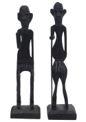 Today Special - SouvNear Set of 2 Tribal Figurines with Walking Stick Statue Wooden Brown Sculptures - Living Room Decor for Tribal Lovers