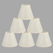 ONEPRE Cream Linen Clip On Candle Lampshade Chandelier Lamp Shades Off White 15cm set of 6