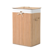 HOMCOM 70L Collapsible Bamboo Laundry Hamper Organiser Clothes Washing Basket Bin Storage Box w/ Lid Removable Lining 40x30x60cm