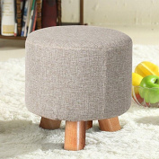 tinkertonk Creative 29*29CM Comfortable Round Upholstered Wooden Leg Footstool Drum Stool with an Extra Free Washable & Removable Cover