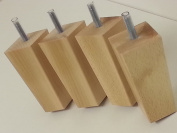 4 x WOODEN FURNITURE FEET REPLACEMENT FURNITURE LEGS FOR SOFAS, CHAIRS, STOOLS M10 NATURAL