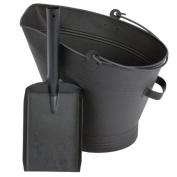 Fire Vida Waterloo Bucket and Shovel Set with Black Fire Fireside, Metal