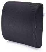 Premium Lumbar Support Pillow by MemorySoft - Memory Foam Lower Back Support Cushion for your Home, Office Chair, and Car - NEW Ergonomic Memory Foam Design with Cool Mesh Fabric