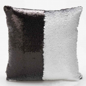 Mermaid Pillow Cases, Rcool DIY Two Tone Glitter Sequins Throw Pillows Decorative Cushion Covers