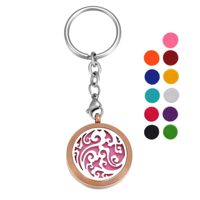 VALYRIA Stainless Steel Clouds Essential Oil Diffuser Keychain Aromatherapy