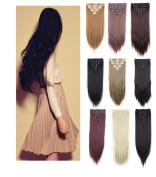 3-5 Day Fast Delivery Double weft Thick Full Head 8Peices 18 Clips Straight hair Clip In Hair Extensions Women Lady Hairpiece girls 8pcs clip on hairstyles