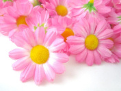 ICRAFY 24 Daisy Silk Head Sweet Pink Colour, Size 3.8cm Artificial Flowers Heads Fabric Floral Supplies Wholesale Lot for Wedding Flowers Accessories Make Bridal Hair Clips Headbands Dress