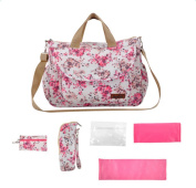 5 In 1 Baby Floral Nappy Bag Set with Changing Pad,Insulated Bottle Bags ,Red