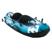Elkton Outdoors 3m Inflatable Tear Resistant Fishing Kayak With Double Sided Oars, Rod Holders, Foot Pump & Repair Kit
