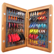 Flyafish Vintage 7 Dozen Fly Lure with a Bamboo Box Bass Bait Lure Stream Trout Fishing