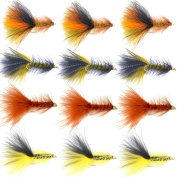 The Fly Fishing Place Bead Head Woolly Bugger Classic Streamer Flies - Set of 12 Bass and Trout Fly Fishing Flies - Hook Size 4