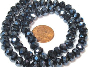 1 strand 14 inches long - 8 mm size Faceted rondelle shape AB bluish black grey shiny colour crystal glass beads - AB051