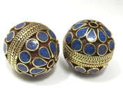 1 Bead - Large focal brass bead with lapis inlay 24mm size - BD762C