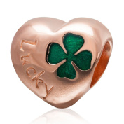 Lucky Clover Charm Original 100% Authentic 925 Sterling Silver Heart love Beads Charm fit for Pandora Charms Bracelets